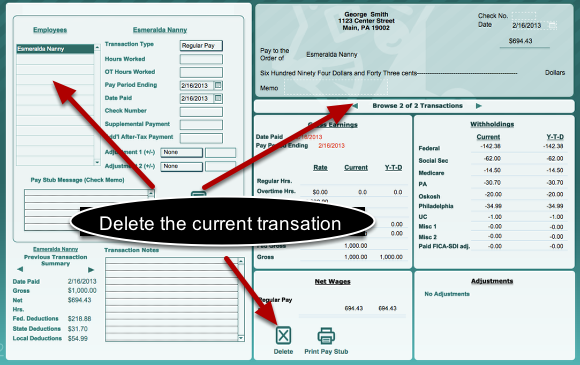 how to delete a payroll transaction