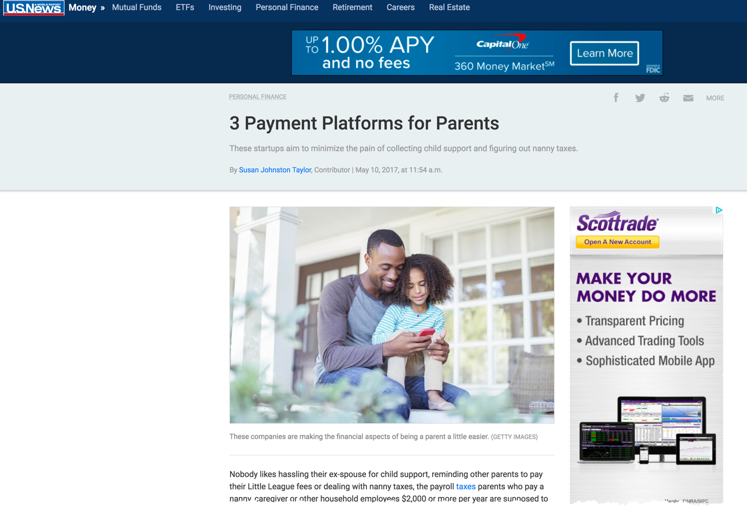 NannyPay in US News & World Report